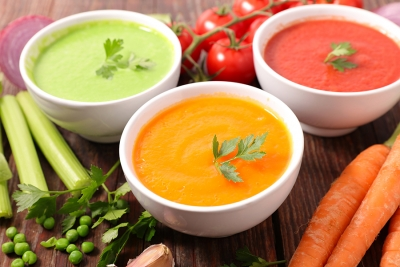 photo of 3 different bowls of vegetable soup | Lipedema eating plan